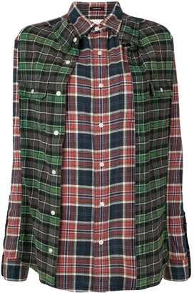 R 13 Double reconstructed plaid shirt