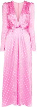 Alessandra Rich polka dot silk dress