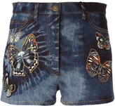 Valentino 'Tie&Dye Japanese Butterfly' denim shorts