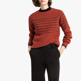 La Redoute Collections Sparkle Breton Striped Jumper with Crew Neck in Chunky Ribbed Knit