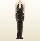 Gucci Black Tiger Flower Print Viscose Jersey V-Neck Gown