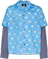Duo layered contrast-panel shirt