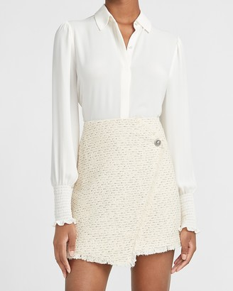 Express High Waisted Wrap Front Tweed Mini Skirt