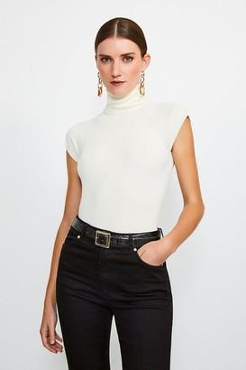 Karen Millen Essential Roll Neck Short Sleeve Jumper
