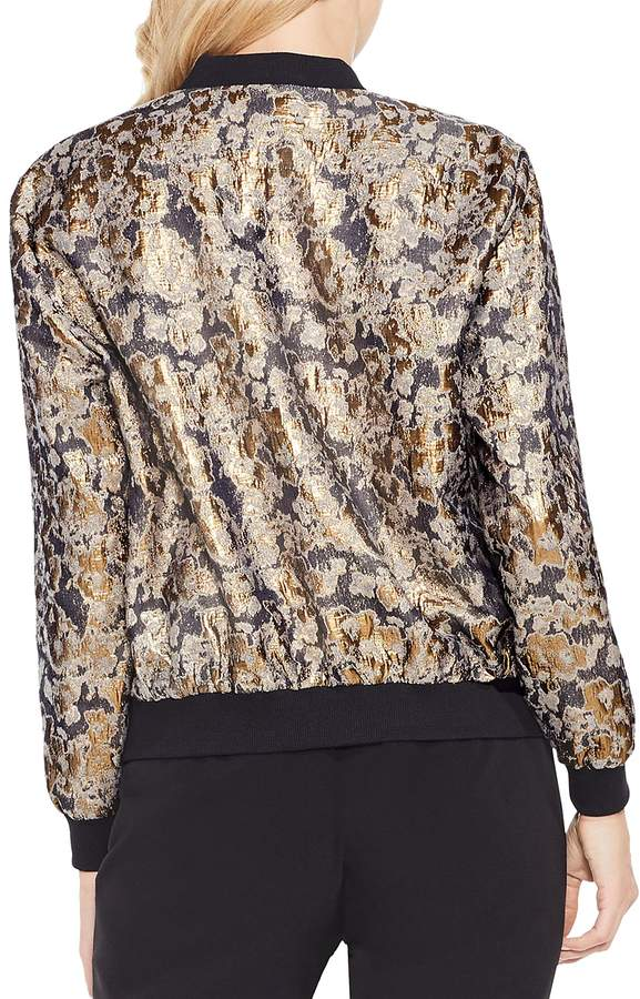 Vince Camuto Abstract Metallic Jacquard Bomber Jacket
