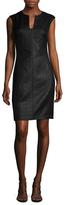 Josie Natori Lacquered Basketweave Sheath Dress