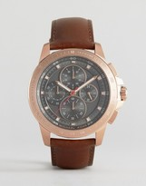 Michael Kors Ryker Chronograph Leather Watch In Brown MK8519