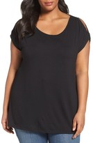 Sejour Plus Size Women's Ruched Cold Shoulder Top