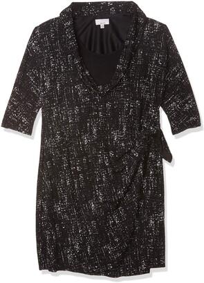 Robbie Bee Women's Cowl Neck Sheath Dress Black/Grey Large