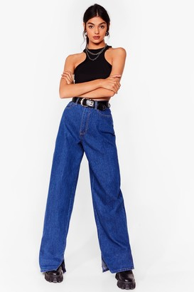 Nasty Gal Womens Hang Back Slit Hem Slouch Jeans - Blue - 12