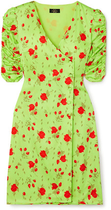 De La Vali Minnesota Floral-print Satin Wrap Dress