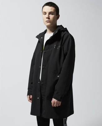 The Kooples Long black parka with hood and logo zip