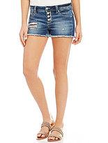 Miss Me Destructed Frayed Hem Stretch Denim Cutoff Shorts