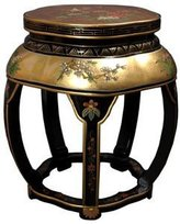 Oriental Furniture Best Value Quality Style Design, 18-Inch Ming Lacquered Blossom Stool End Table, 24ct. Leaf