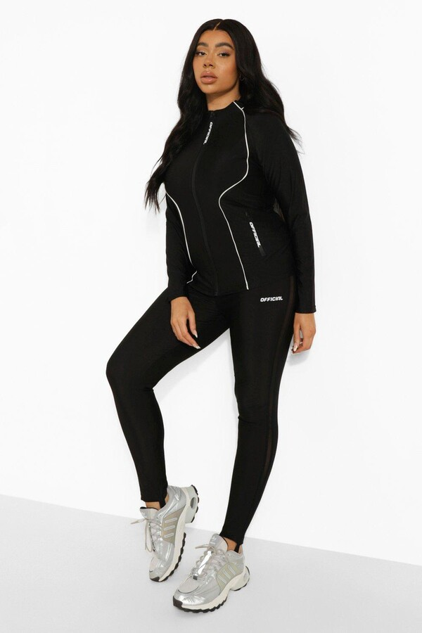 Thumbnail for your product : boohoo Plus High Shine Funnel Neck Active Zip Jacket