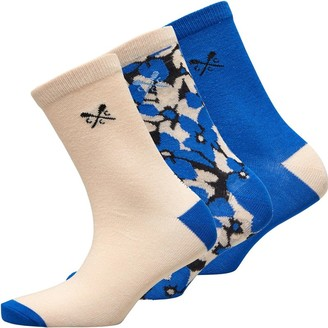 Crew Clothing Womens Floral Three Pack Socks Blue