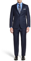 Hickey Freeman Blue Micro-Check Two Button Notch Lapel Wool Classic Fit Suit