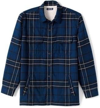 Lands' End Men's Traditional-Fit Plaid Sherpa-Lined Flannel Shirt Jacket