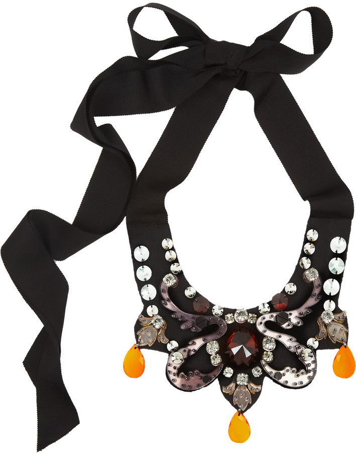 Lanvin Embellished bib necklace