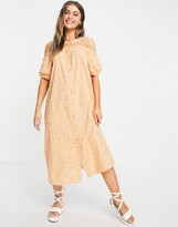 Thumbnail for your product : Monki Noa bardot puff sleeve midi dress in peach floral