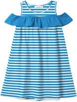 Basics By Sunshine Swing Basics by Sunshine Swing Girls' Casual Dresses - Blue Stripe Ruffle-Trim Cold-Shoulder Dress - Toddler & Girls