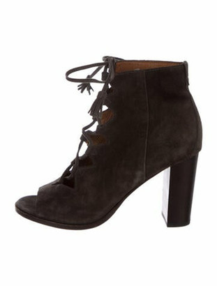 Frye Suede Fringe Trim Accent Lace-Up Boots Grey