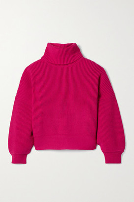 Diane von Furstenberg Baylor Ribbed Merino Wool-blend Turtleneck Sweater - Fuchsia
