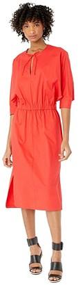 Jason Wu Stretch Cotton Poplin V-Neck Dress (Cherry) Women's Clothing