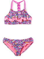 Vigoss Sugar Plum Nicki Beach Flounce Macrame-Accent Bikini - Girls