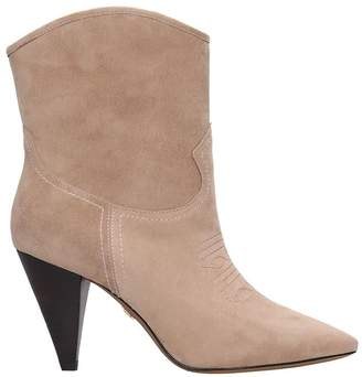 Lola Cruz Ankle Boots In Beige Suede