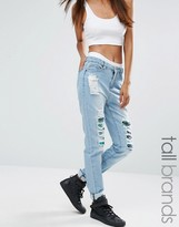 Liquor & Poker Tall Ripped Boyfriend Jeans With Sequin Detail