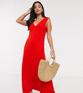 ASOS DESIGN Petite Exclusive v neck maxi dress with full pep hem in red