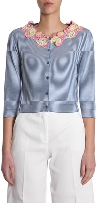 Boutique Moschino Lace Collar Striped Cardigan