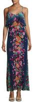 Fuzzi Floral-Print Tulle Ruffle Slip Dress, Blue