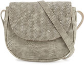 Neiman Marcus Woven Reptile Faux-Leather Saddle Bag, Light Gray