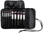 Bliss & Grace 10-Piece Kabuki Brush Set with Handy Vegan Leather Travel Case - Silver