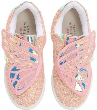 Sophia Webster Butterfly Glittered Leather Sneakers