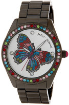 Betsey Johnson Women's Crystal Butterfly Boyfriend Watch