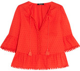 Madewell Pompom-trimmed Swiss-dot Cotton Blouse - Red