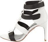 BCBGMAXAZRIA Palmer Two-Tone Leather Strappy Sandals, Black/White