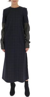 Maison Margiela Checkered Two Tone Sleeve Maxi Dress