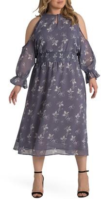 Standards & Practices Grace Floral Cold Shoulder Keyhole Midi Dress (Plus Size)