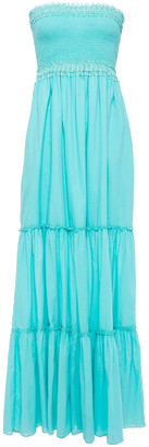 Charo Ruiz Ibiza Strapless Crocheted Lace-trimmed Shirred Cotton-blend Voile Maxi Dress