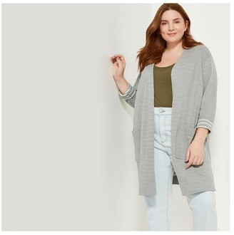 Joe Fresh Women+ Open-Front Cardi, Olive (Size 3X)