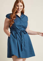 ModCloth Smoothie Enthusiast A-Line Shirt Dress in Blueberry in 2X - Short Sleeve Knee Length