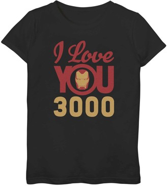 Iron Man Licensed Character Girls 7-16 Marvel I Love You 3000 Icon Logo Tee