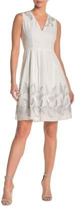 Elie Tahari Astrid Pleated Silver Leaf Embroidered Dress