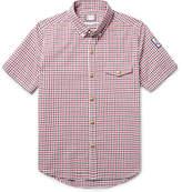 Moncler Gamme Bleu Slim-fit Button-down Collar Checked Cotton-seersucker Shirt - Red