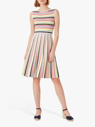 Hobbs Rainbow Knitted Mini Dress, Multi
