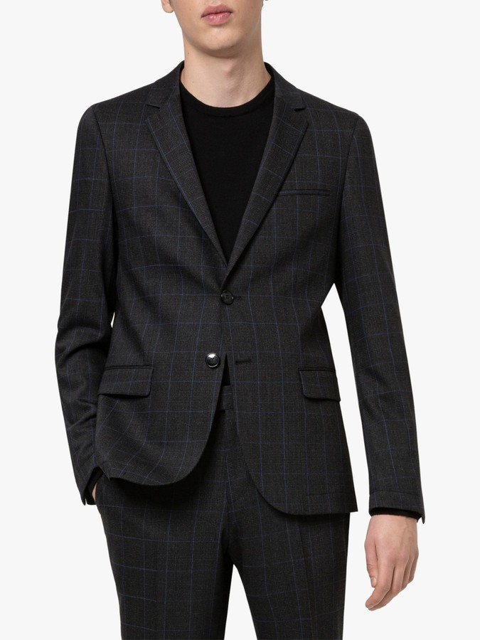 HUGO BOSS by Anfred204 Prince of Wales Check Washable Suit Jacket, Charcoal